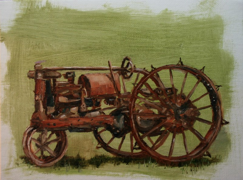 """Antique Tractor"" original fine art by Jean Nelson"
