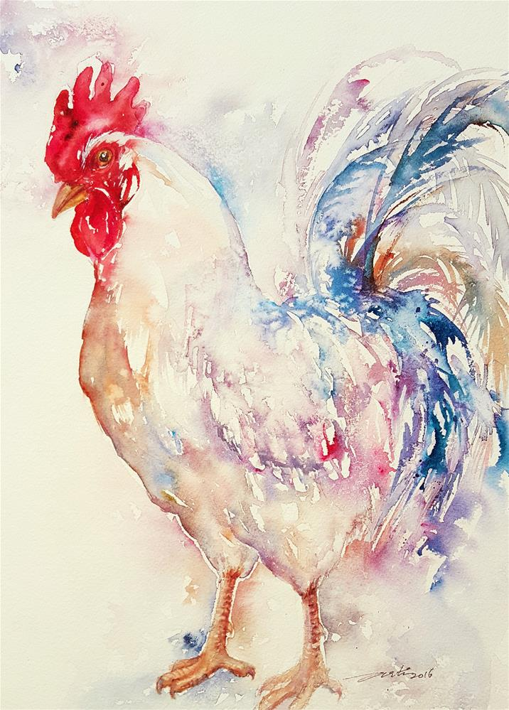 """Rainbow Rooster"" original fine art by Arti Chauhan"