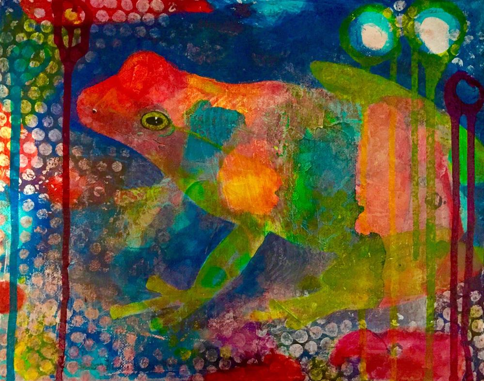 """Ribbit"" original fine art by Silke Powers"