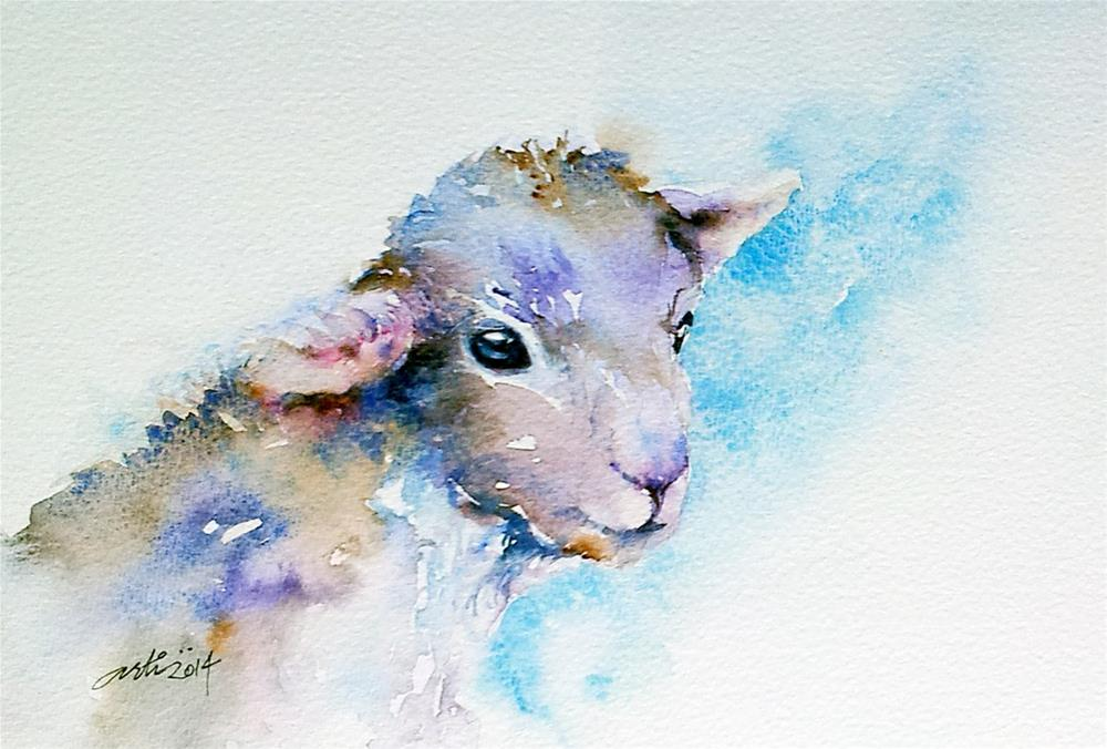"""Little Lamb Blue"" original fine art by Arti Chauhan"