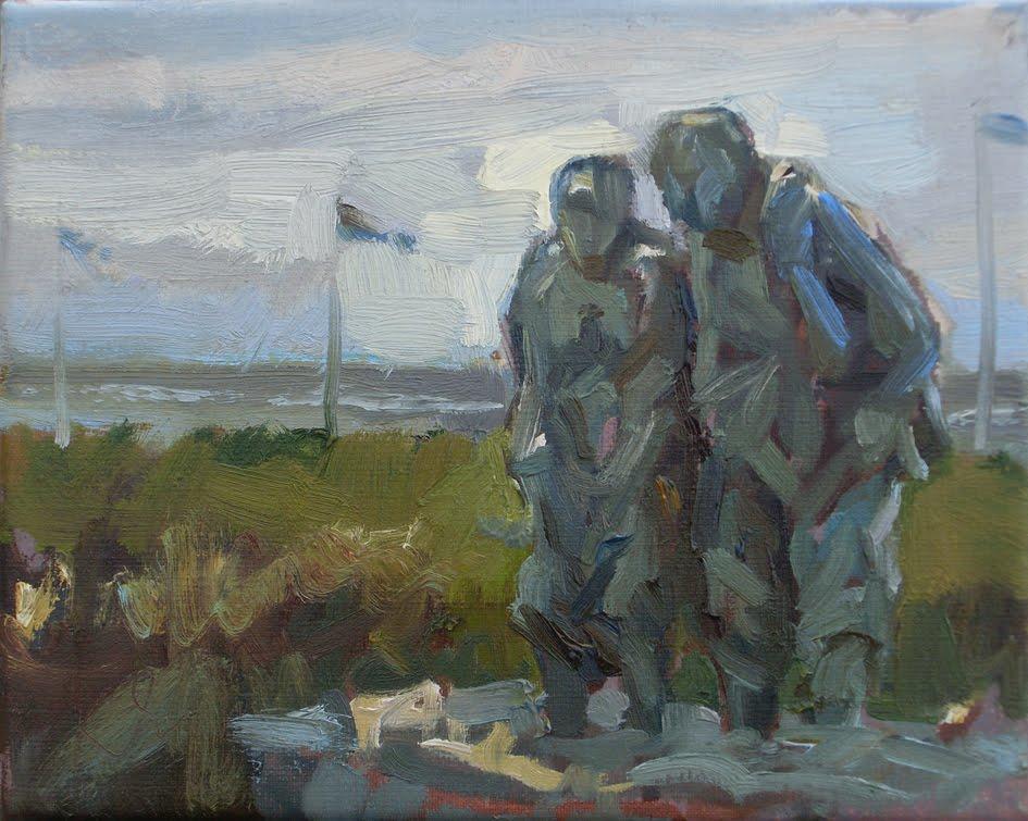 """""""Pootje baden II (standbeeld van G. Leverland)"""" original fine art by Roos Schuring"""