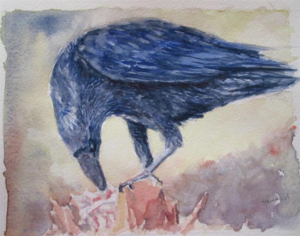 """Raven feeding"" original fine art by Steinunn Einarsdottir"