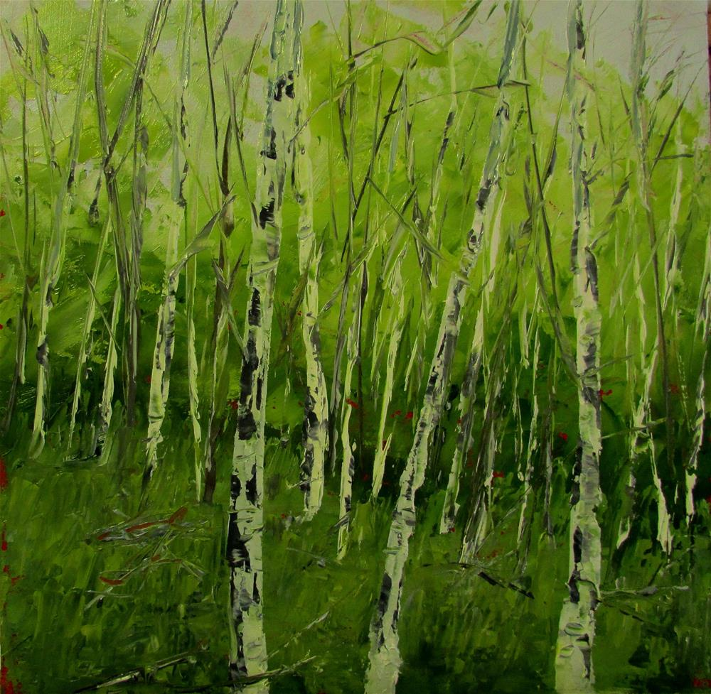 """8 x 8 oil Summer Birches"" original fine art by Linda Yurgensen"