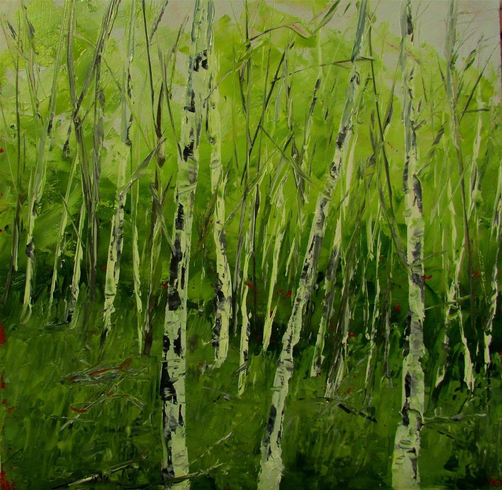 """""""8 x 8 oil Summer Birches"""" original fine art by Linda Yurgensen"""