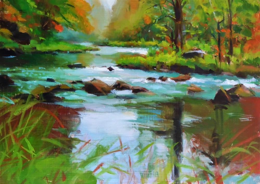 """Fall stream"" original fine art by Víctor Tristante"