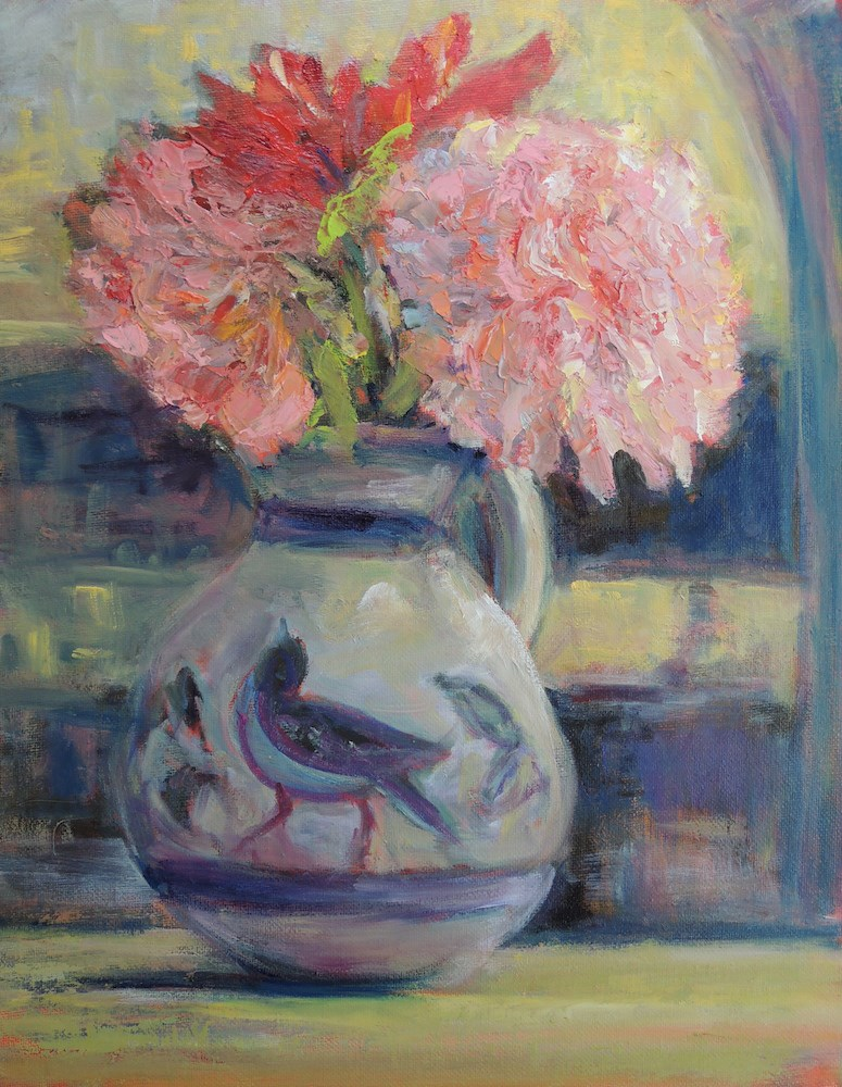 """Pink and Bluebird"" original fine art by Mary Schiros"