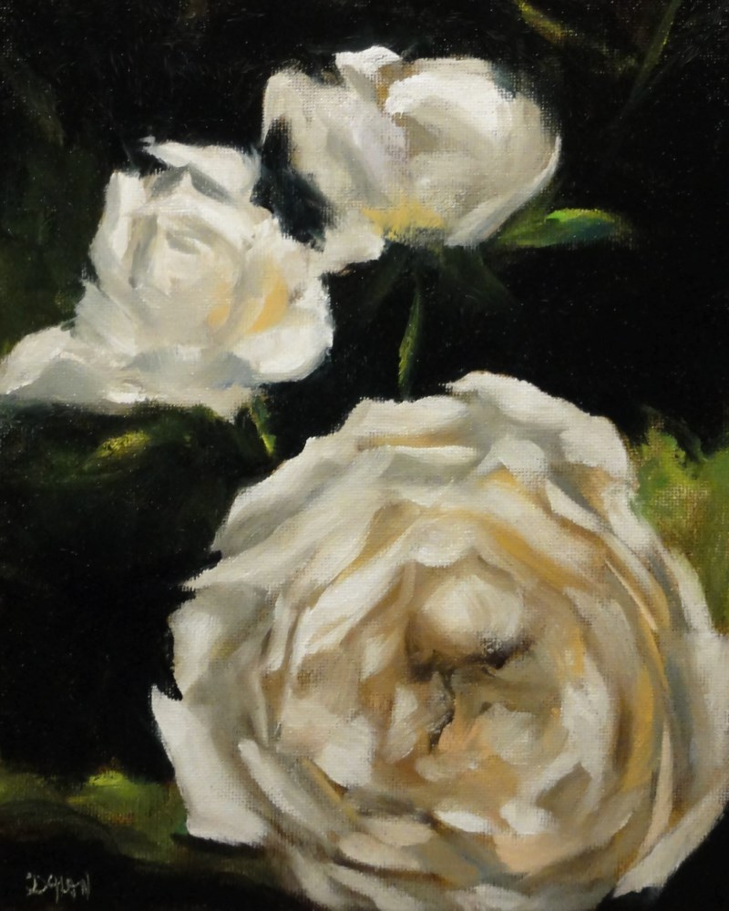 """White Roses"" original fine art by Dalan Wells"