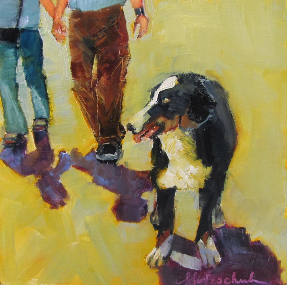 """Come On, Guys!   oil  6""""x6""""  animal, figurative  $100 original fine art by Christine Holzschuh"""