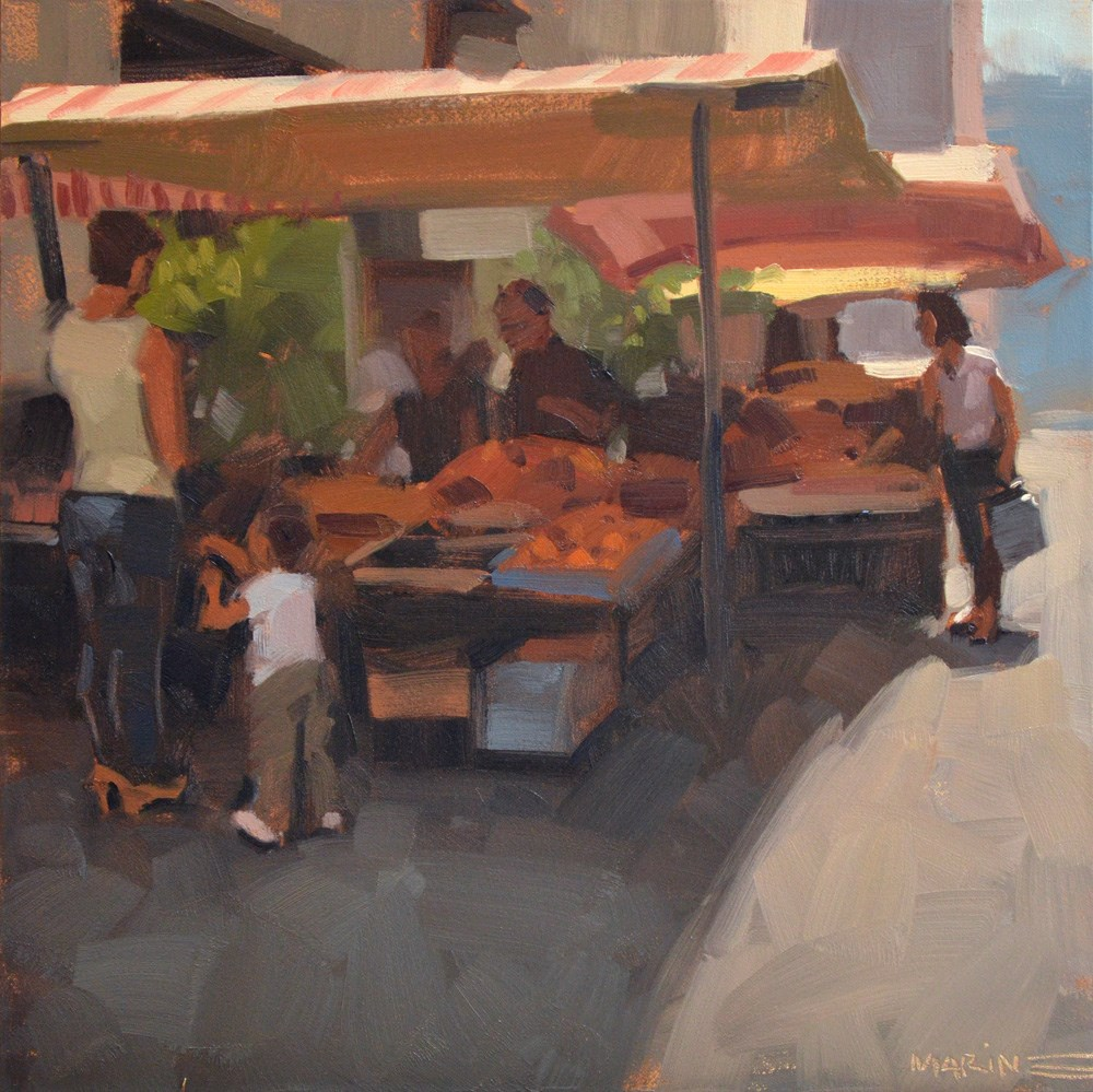 """Street Market"" original fine art by Carol Marine"