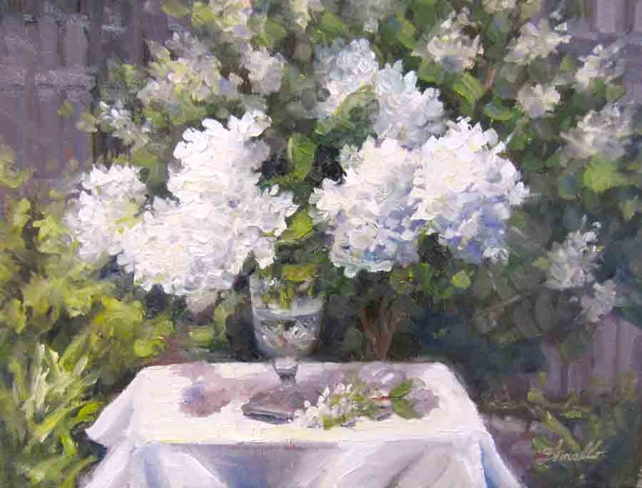 """Hydrangeas in the Sun"" original fine art by Pat Fiorello"