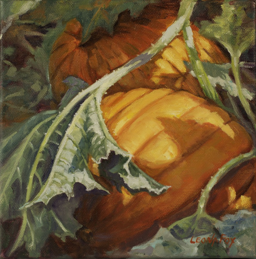 """Pumpkins"" original fine art by Leona Fox"