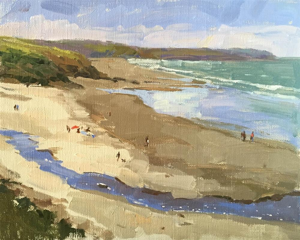 """Pendower beach"" original fine art by Haidee-Jo Summers ROI"