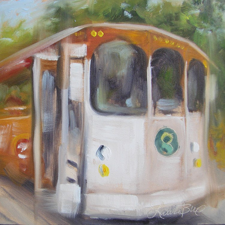 """Greenville Trolley - 400"" original fine art by Laura  Buxo"