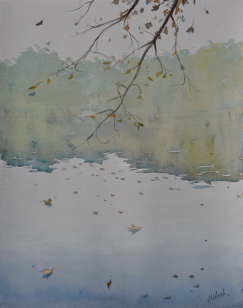 """Falling leaves"" original fine art by Tesh Parekh"