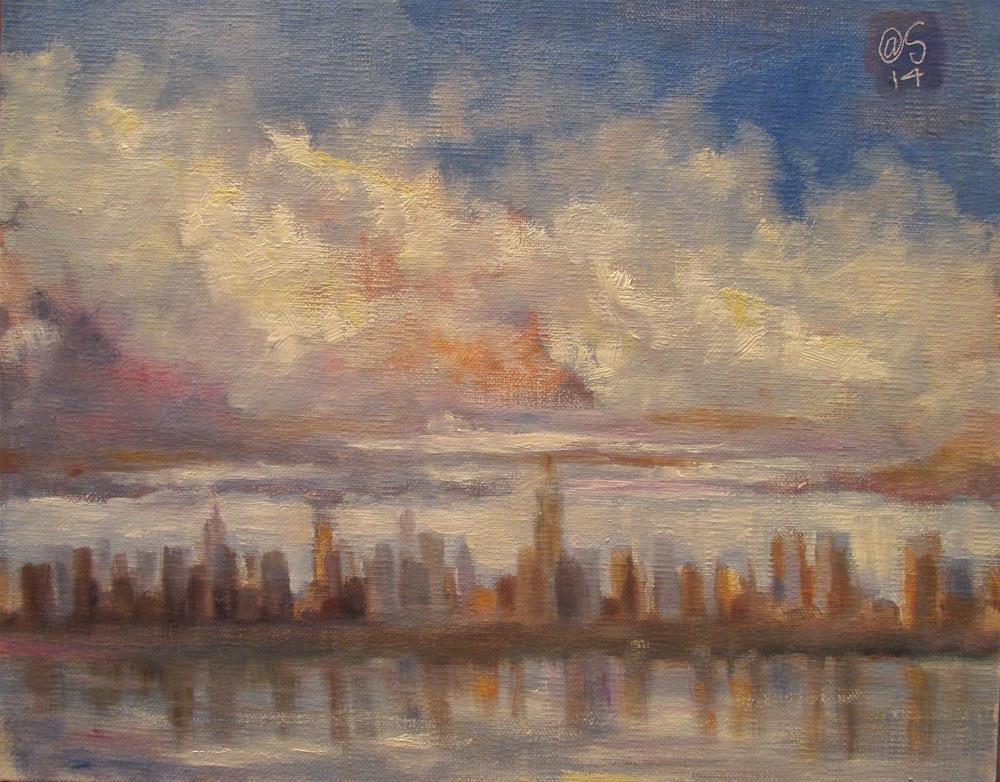 """Manhattan in Morning"" original fine art by Aurelio Saiz"