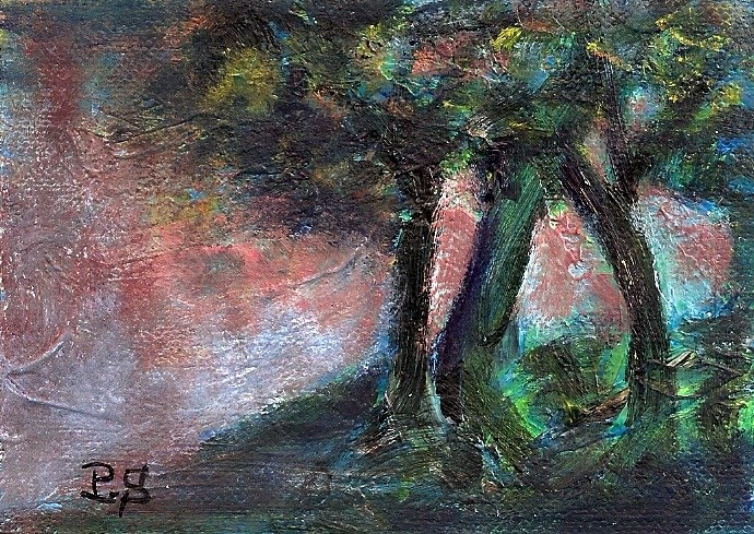 """ACEO Deep Dark Forest Trees Landscape Painting Acrylic Impasto Penny StewArt"" original fine art by Penny Lee StewArt"