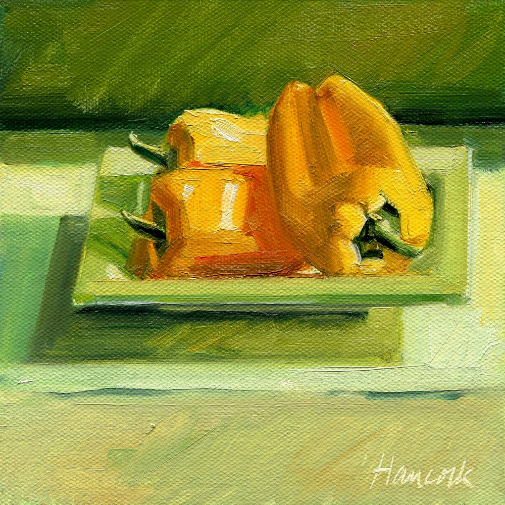 """Small Yellow Peppers on Square Green Plate Squared"" original fine art by Gretchen Hancock"