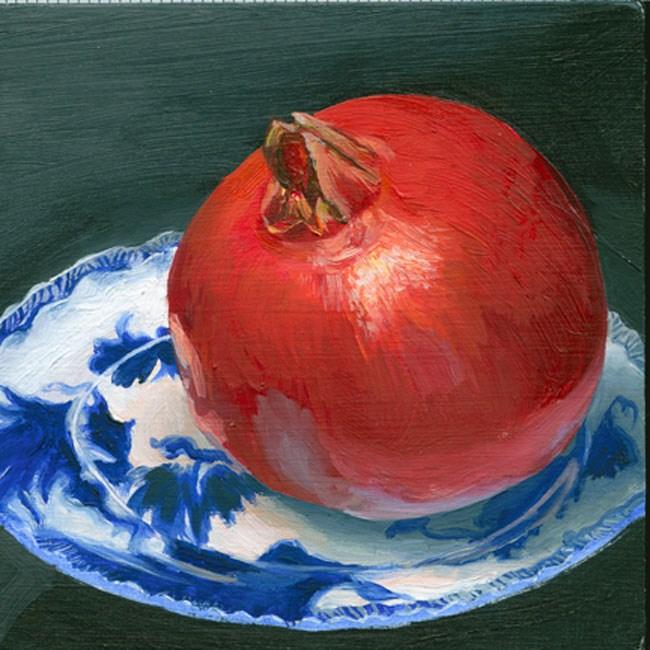 """Pomegranate on vintage china saucer"" original fine art by Jean Wilkey"