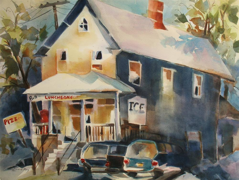 """Bill's Luncheonette, NJ"" original fine art by Jinnie May"