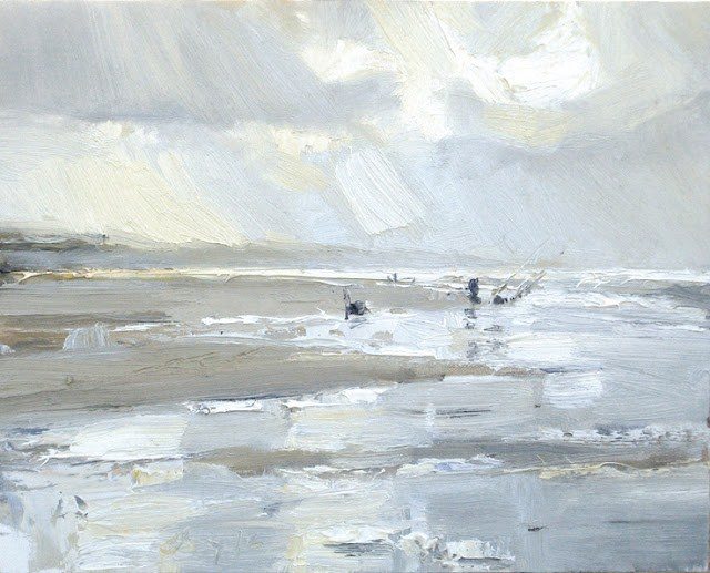 """Seascape winter # 10 Fisherman and water reflections"" original fine art by Roos Schuring"