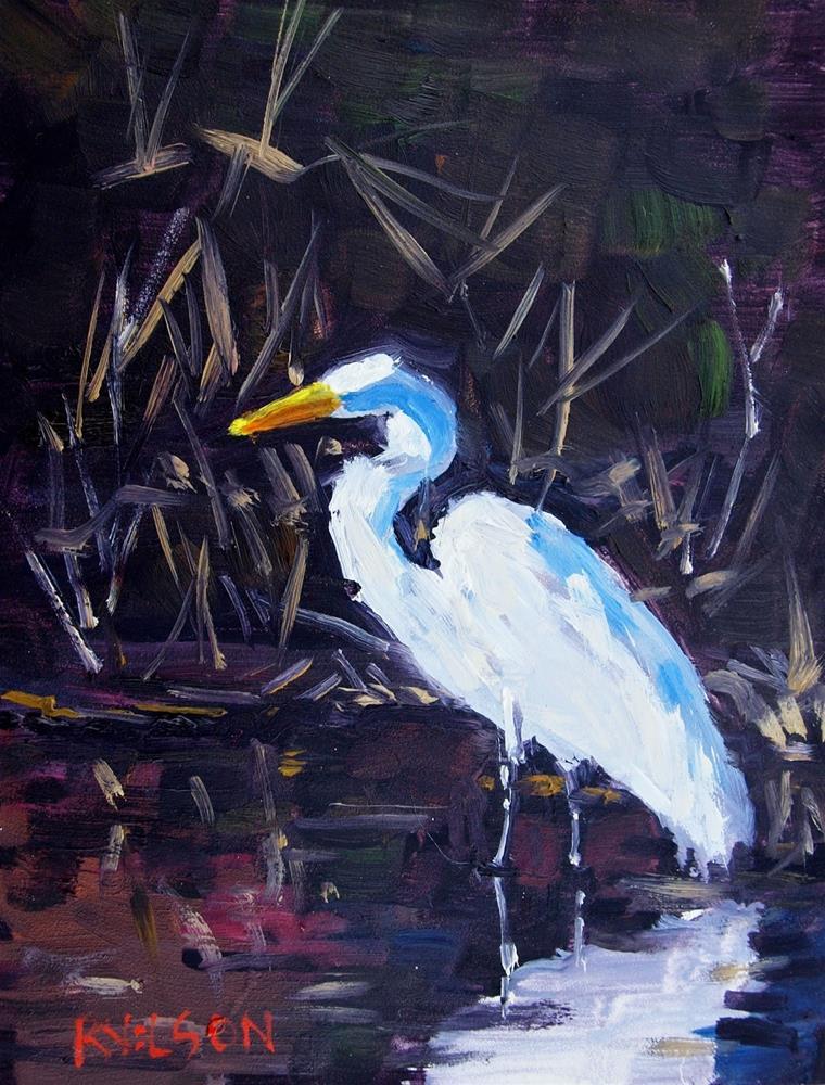 """Black Water Egret"" original fine art by Rick Nilson"