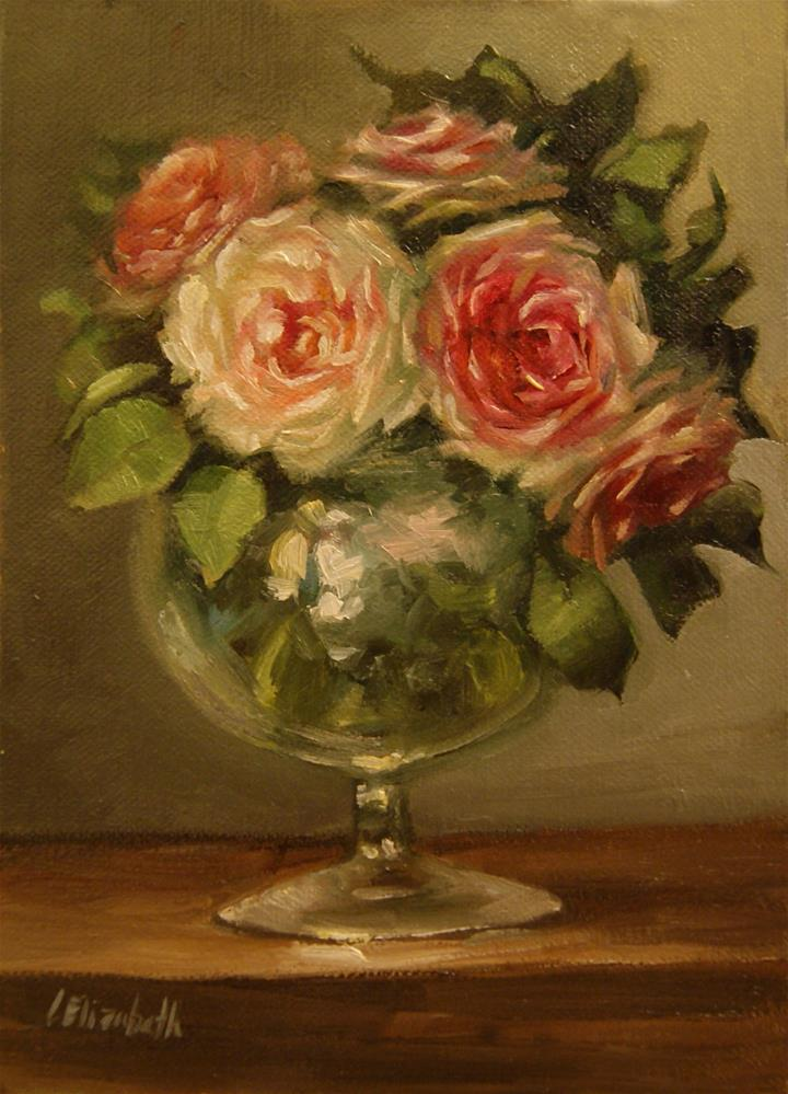 """Pink Roses Glass Vase,  Oil on 5x7 Linen Panel"" original fine art by Carolina Elizabeth"