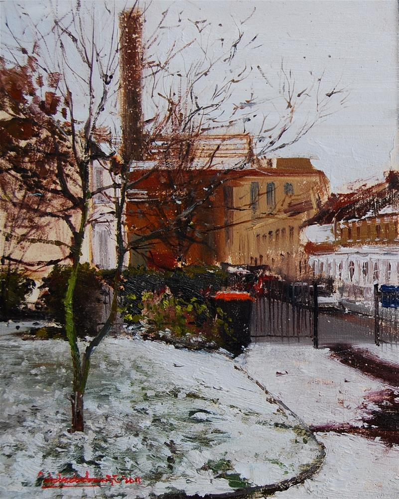 """Snow Effect (Westfield Park, Chelsea)"" original fine art by Adebanji Alade"