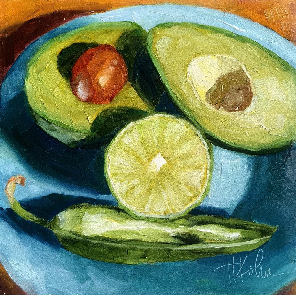 """Guacamole Face"" original fine art by Hallie Kohn"