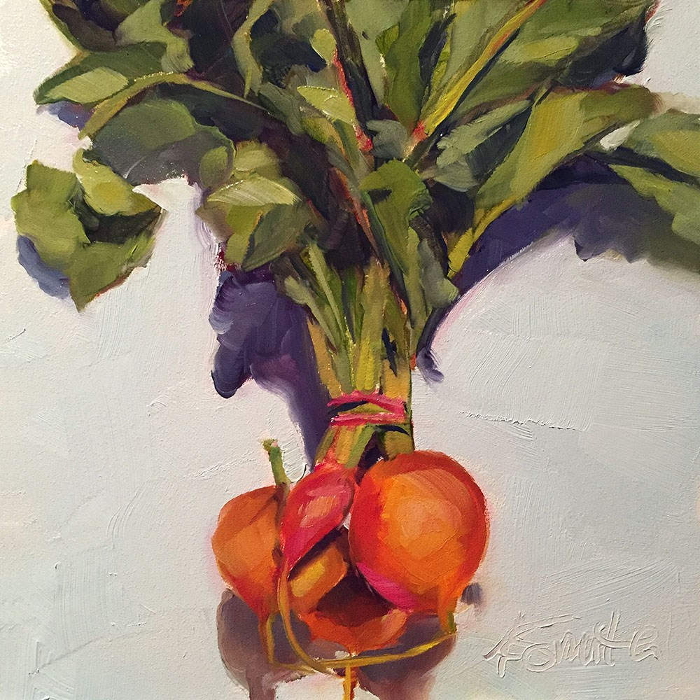 """golden beets"" original fine art by Kim Smith"