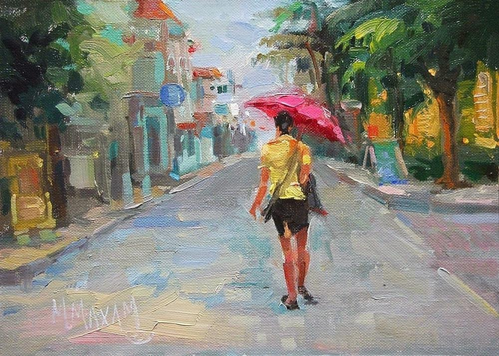 """Parasol On Front Street"" original fine art by Mary Maxam"