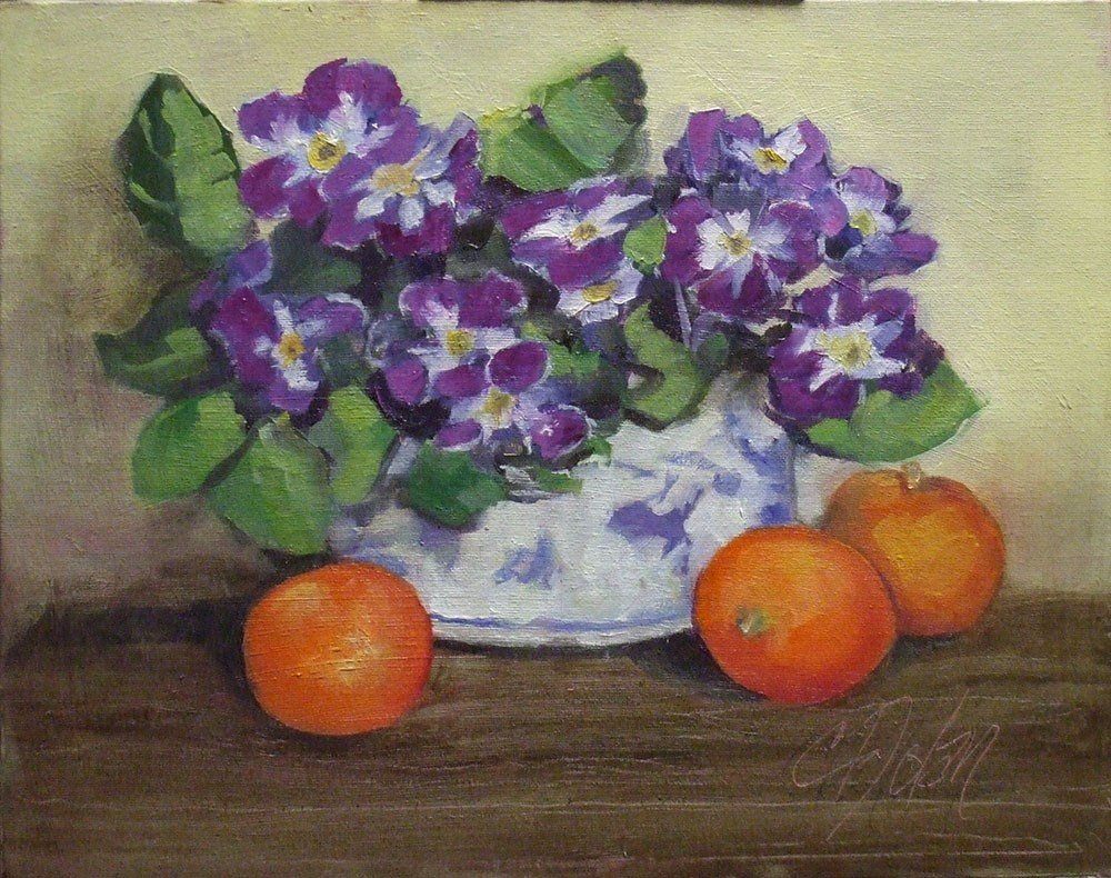 """Primroses and Cuties"" original fine art by Cheryl Williams Dolan"
