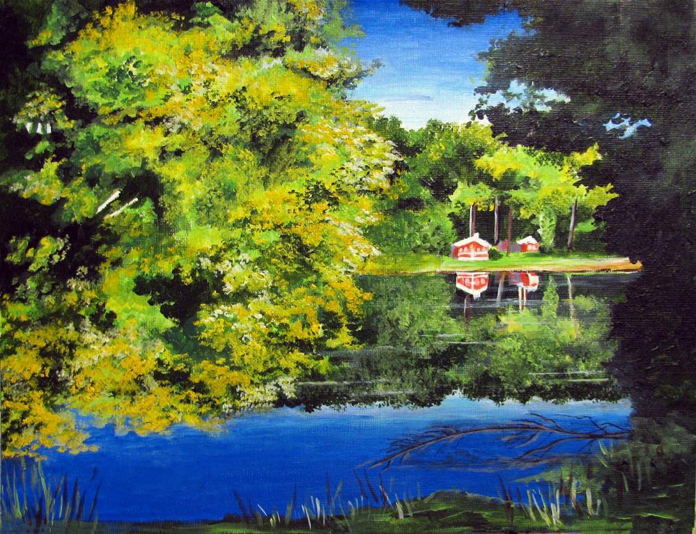 """""""Northville Lake"""" original fine art by Nan Johnson"""
