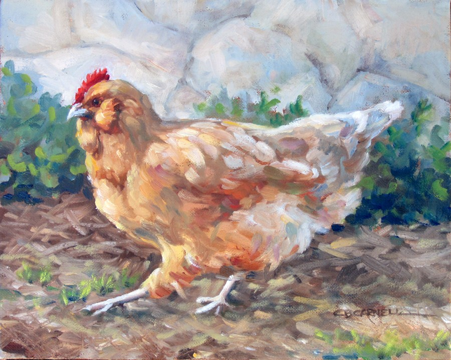 """""""CHICKITUDE An Original Oil Painting by Claire Beadon Carnell"""" original fine art by Claire Beadon Carnell"""