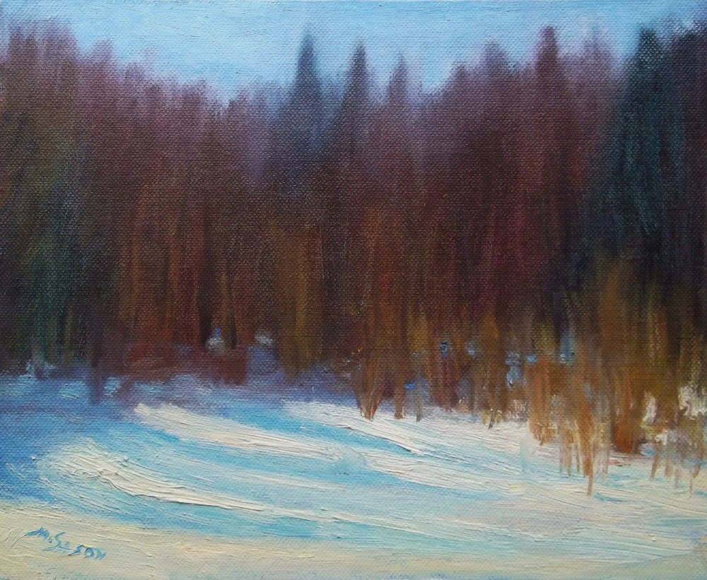 """By the pond - winter"" original fine art by Michael Sason"
