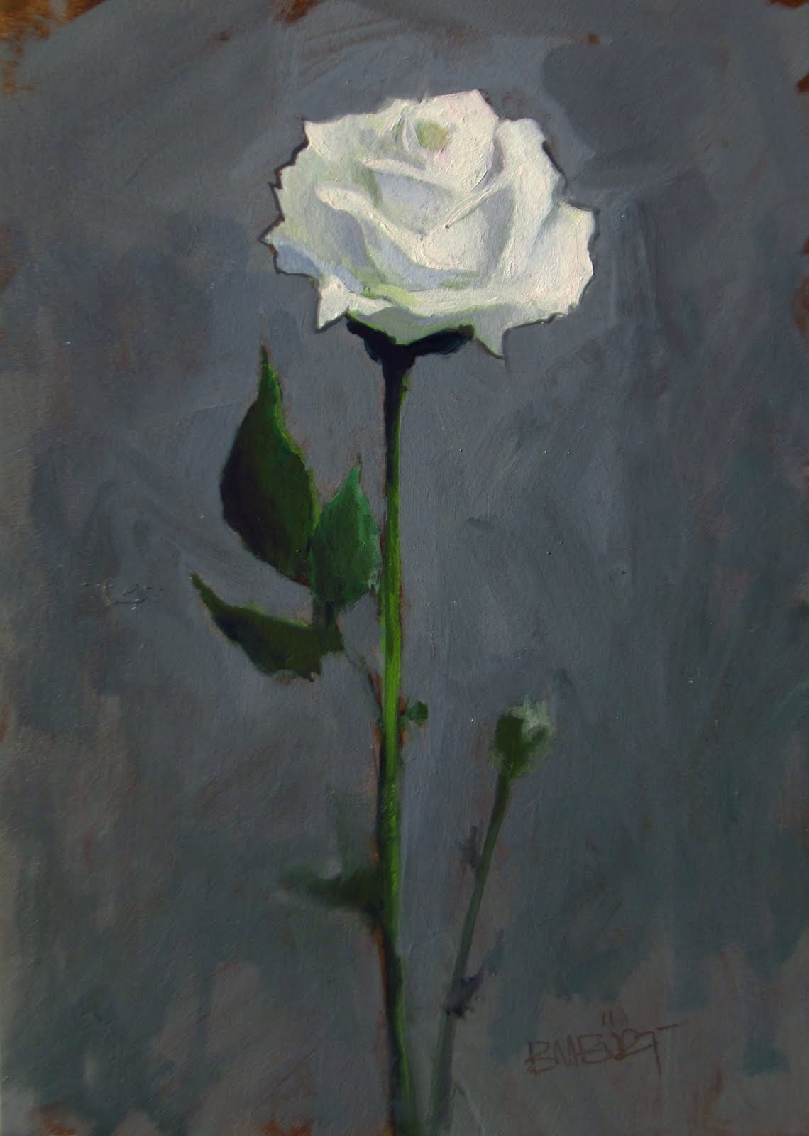 """DAILY DIAPER #236 White Rose"" original fine art by Brian Burt"