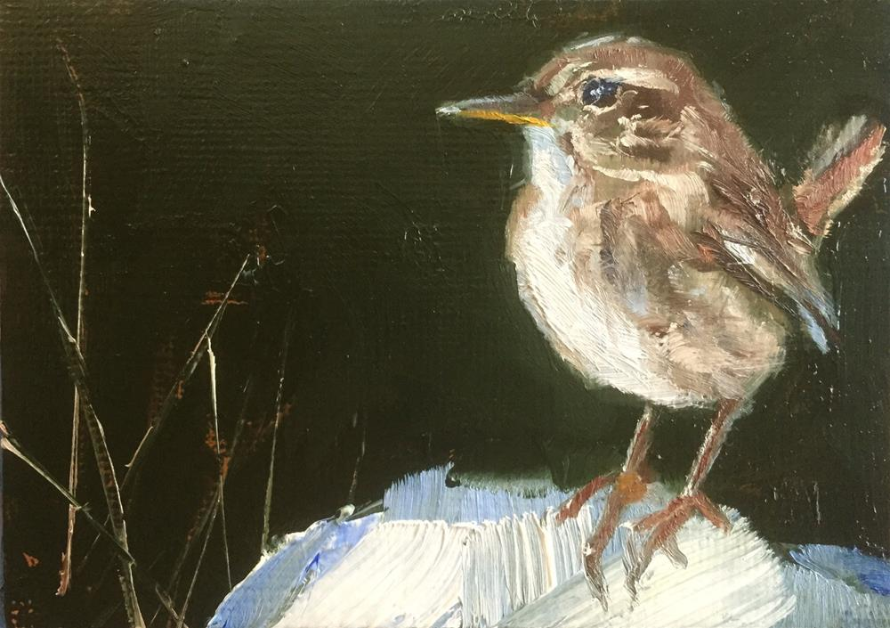 """Wren on Snow"" original fine art by Gary Bruton"
