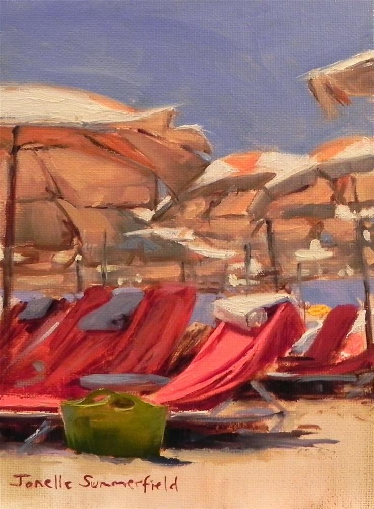 """Beach Chairs"" original fine art by Jonelle Summerfield"