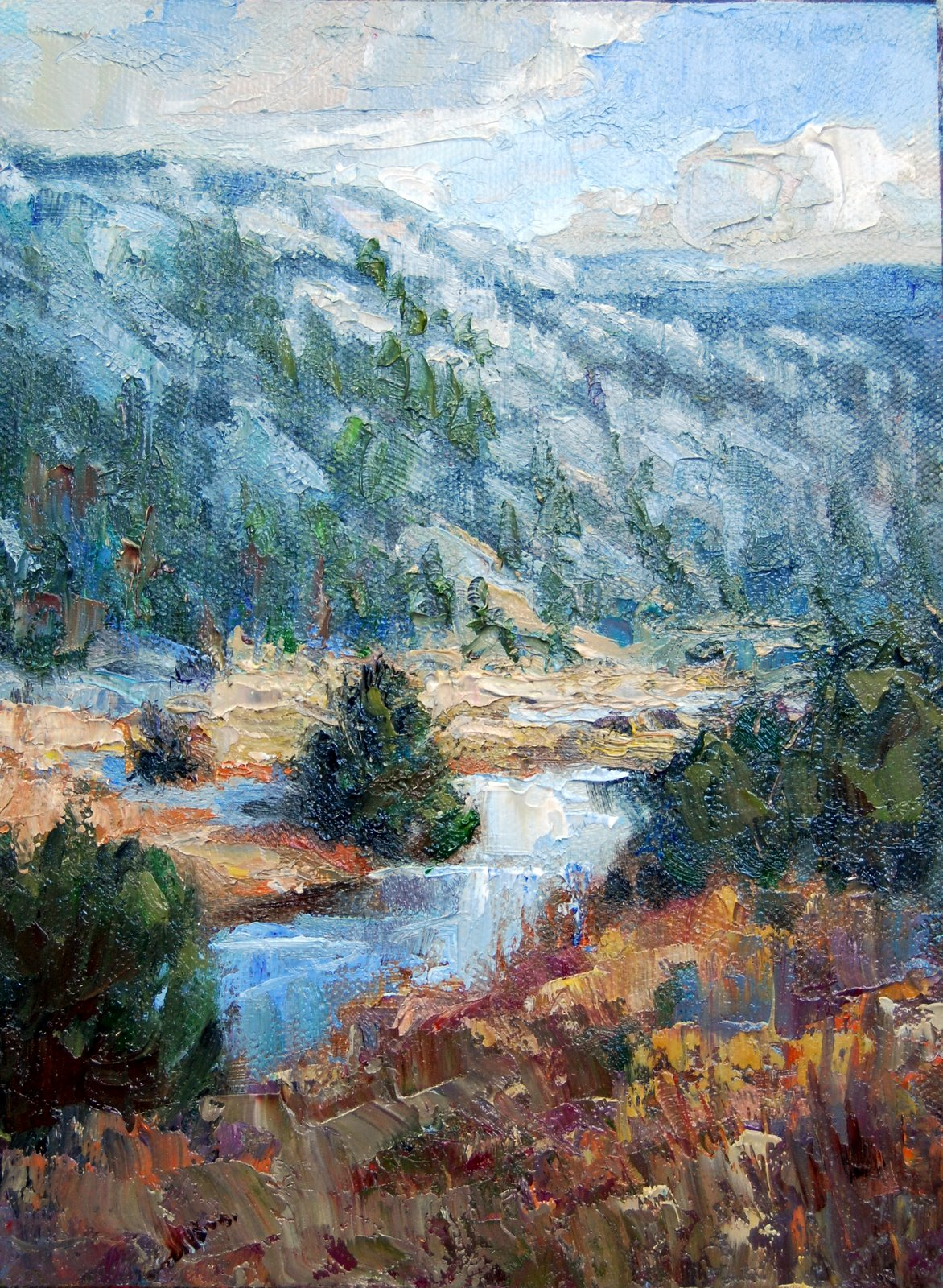 """""""Christmas Tree on the River"""" original fine art by Julie Ford Oliver"""