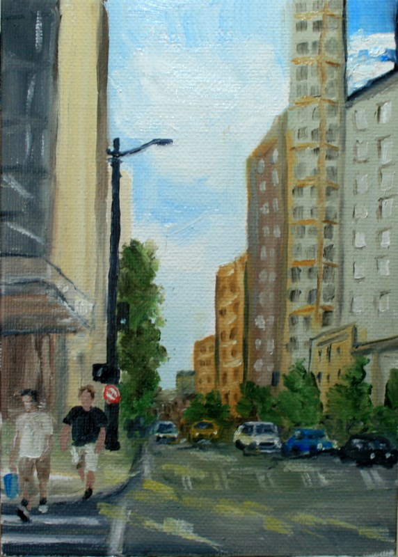 """Downtown"" original fine art by Jean Nelson"
