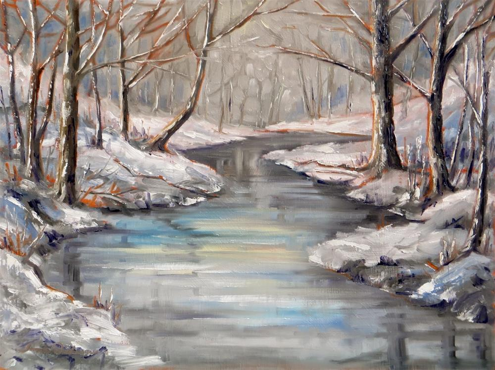 """February Snow at the Creek"" original fine art by Tammie Dickerson"