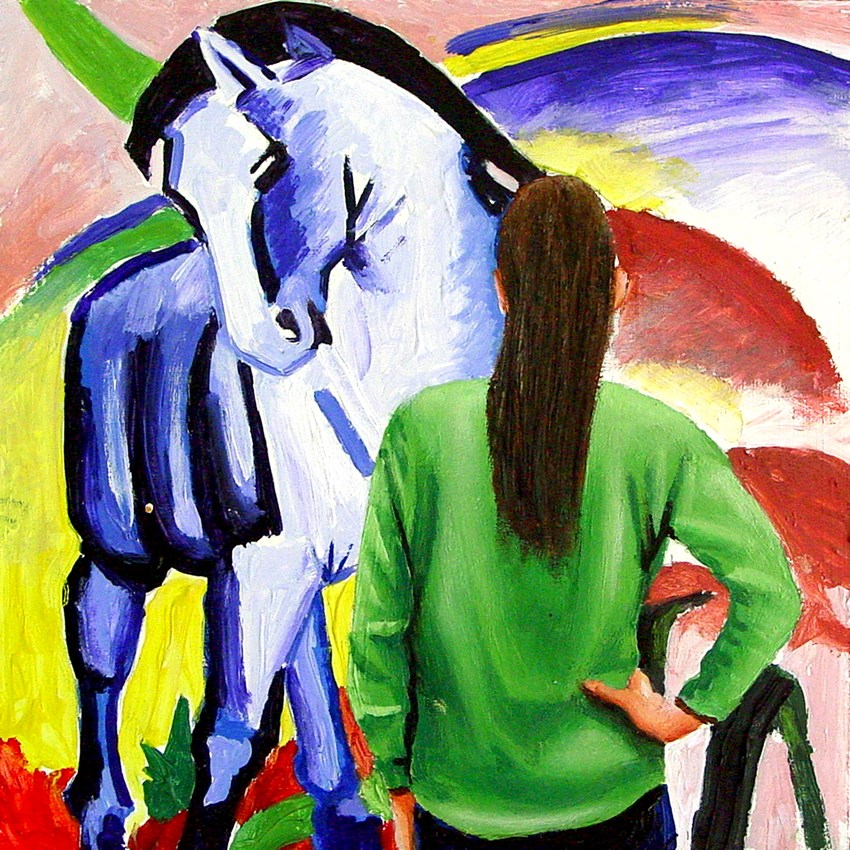 """Blue Horse- Painting Of Woman Enjoying Painting By Franz Marc"" original fine art by Gerard Boersma"
