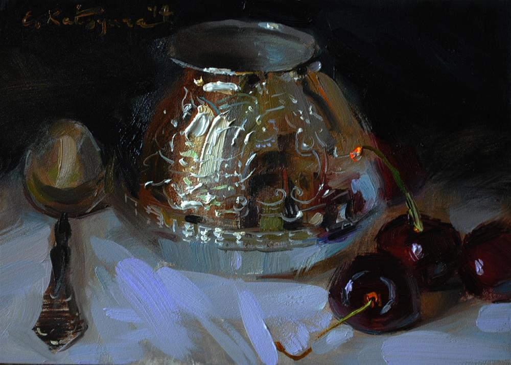 """Silver and Cherries"" original fine art by Elena Katsyura"