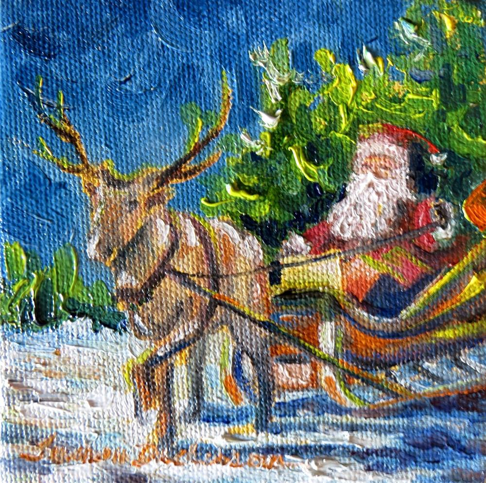 """Santa in his Sleigh - miniature"" original fine art by Tammie Dickerson"