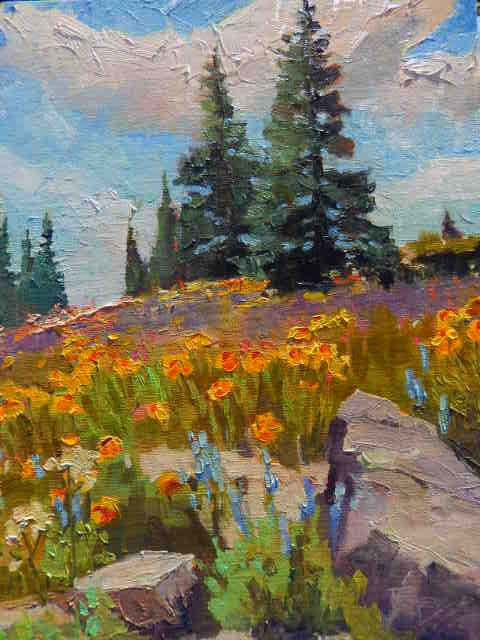 """Where the Wildflowers Are Crested Butte, plein air, landscape painting by Robin Weiss"" original fine art by Robin Weiss"