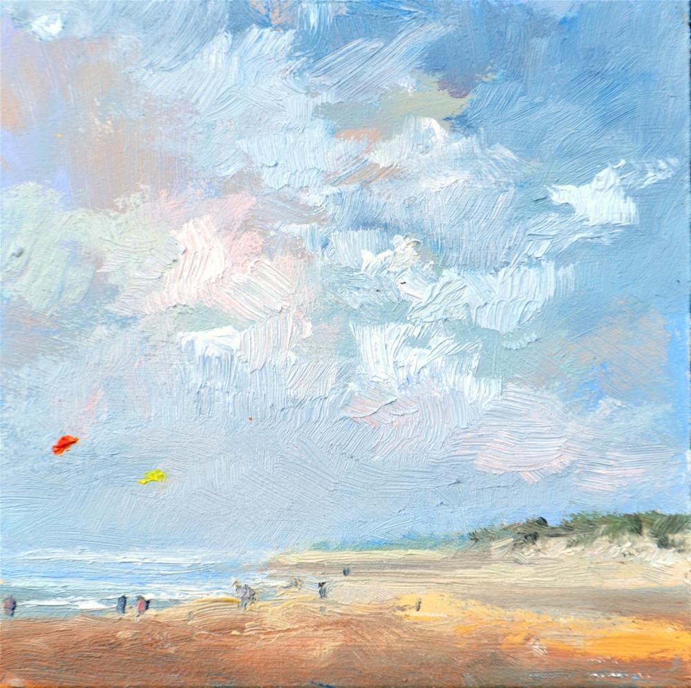 """Beach life in Zeeland July 2016 in oil"" original fine art by Wim Van De Wege"