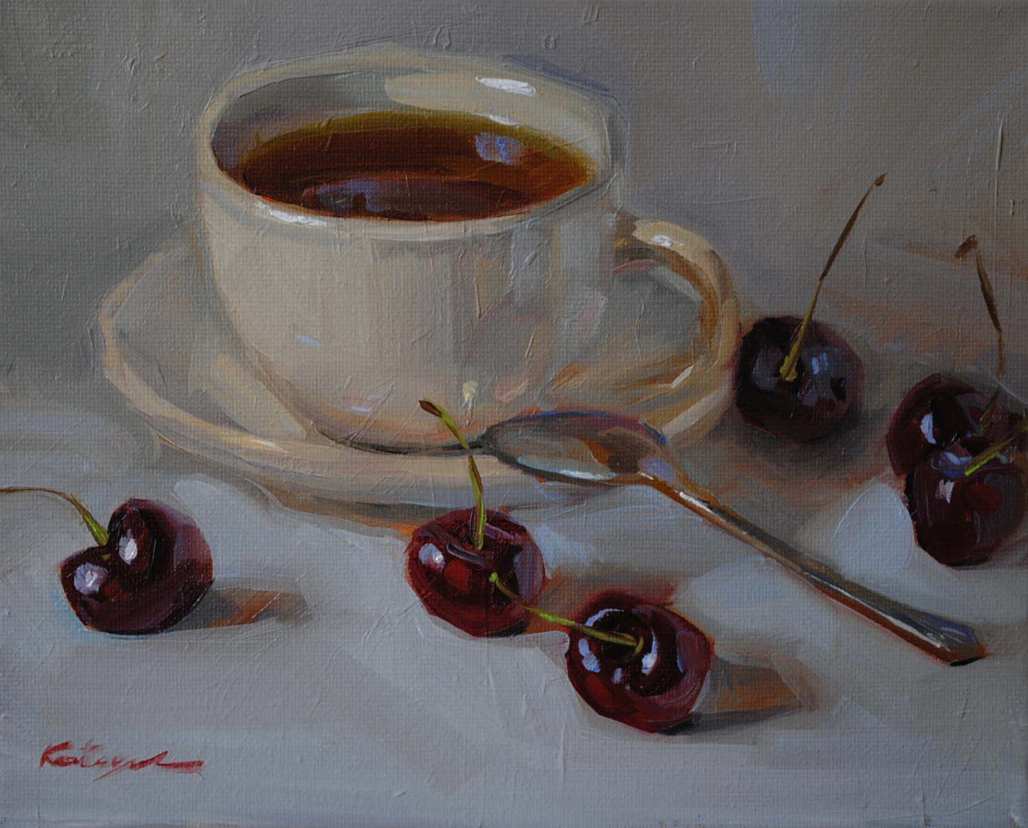 """Cherry Tea"" original fine art by Elena Katsyura"