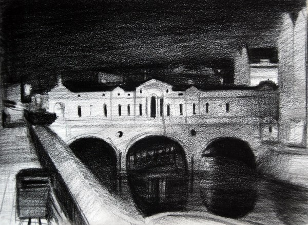 """Silent Night, Pulteney Bridge, Bath (Study)"" original fine art by Adebanji Alade"