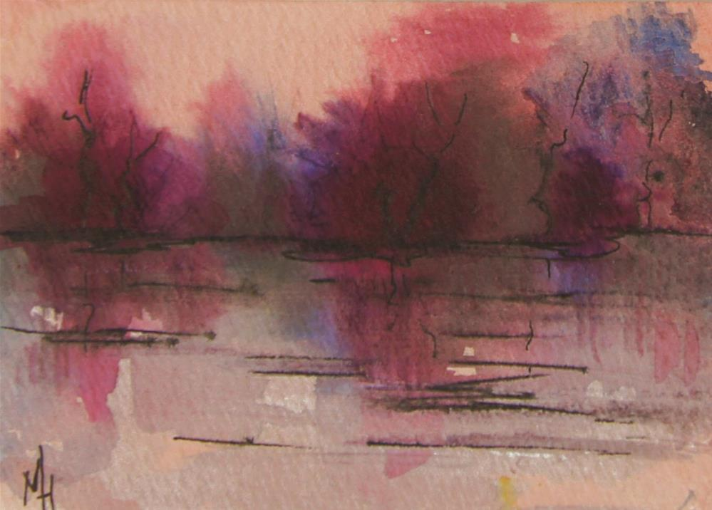 """""""Lake Sunset Abstract ACEO"""" original fine art by Marion Hedger"""
