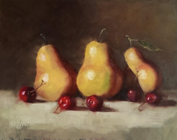 """Pears and Cherries"" original fine art by Cindy Haase"