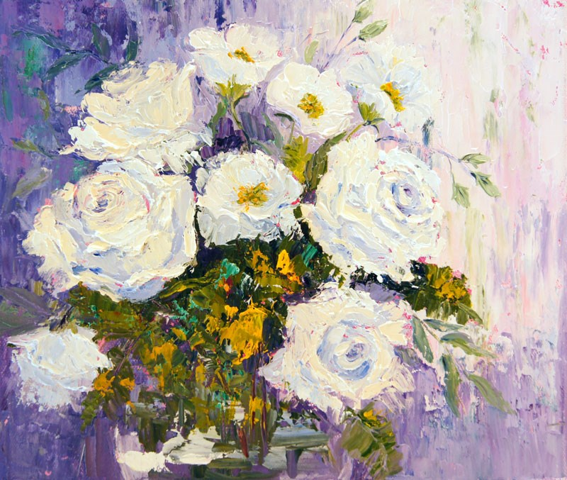 """Mia's White Roses still life floral painting"" original fine art by Marion Hedger"